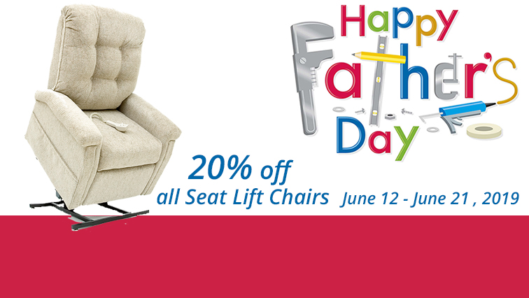 20% off all Seat Lift Chairs at Stephens Pharmacy during the Father's Day Special!